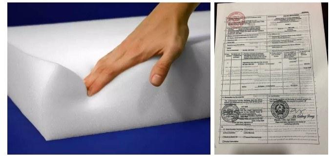 Đệm mút sử dụng sản xuất tại xưởng sofa đều có giấy tờ nhập khẩu CO CQ