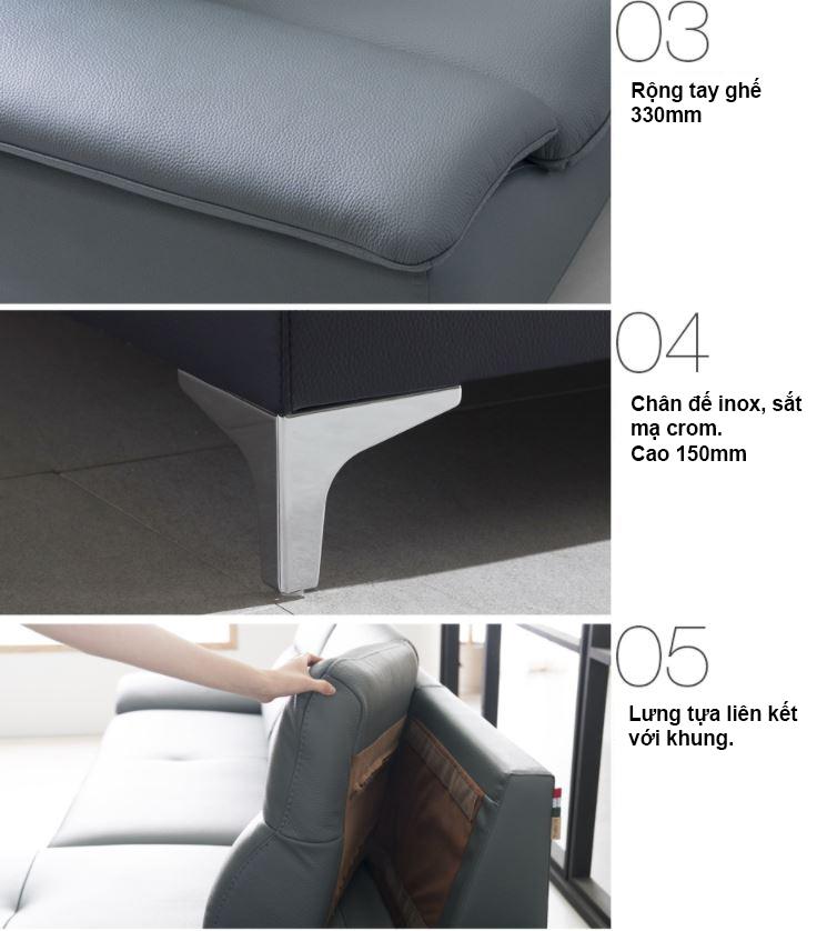Mẫu sofa da hiện đại HNS10