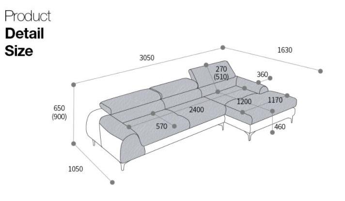 Kích thước mẫu ghế sofa da hiện đại góc L HNS16