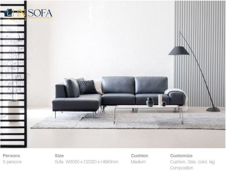 Mẫu sofa góc L HNS22 bọc da sang trọng
