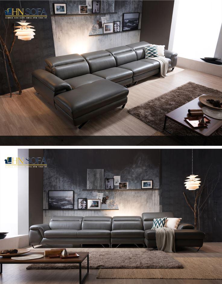 Ghế sofa góc L bọc da Ý hiện đại HNS28