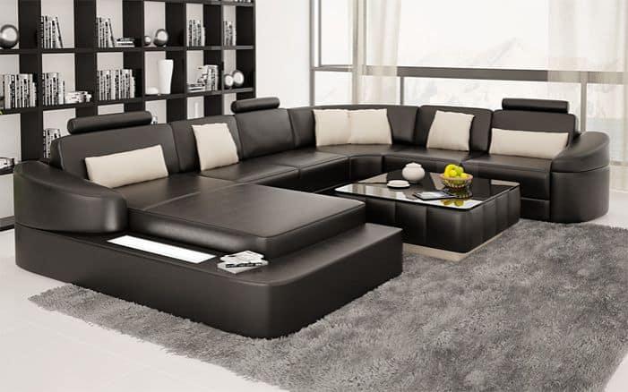 Các mẫu sofa chữ U gam màu đen