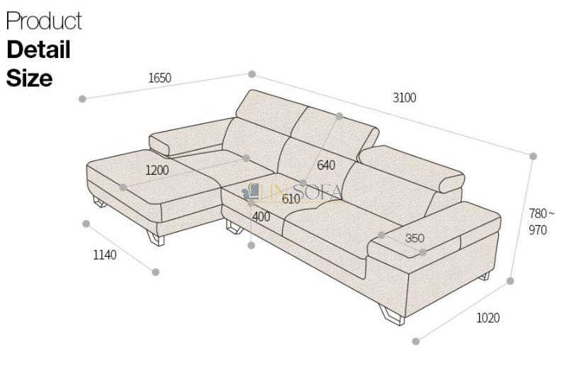 Kích thước ghế sofa chữ L