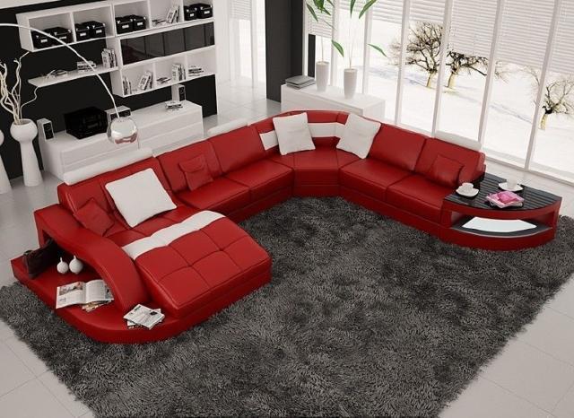 Bài trí sofa đỏ với tone màu xám, tối