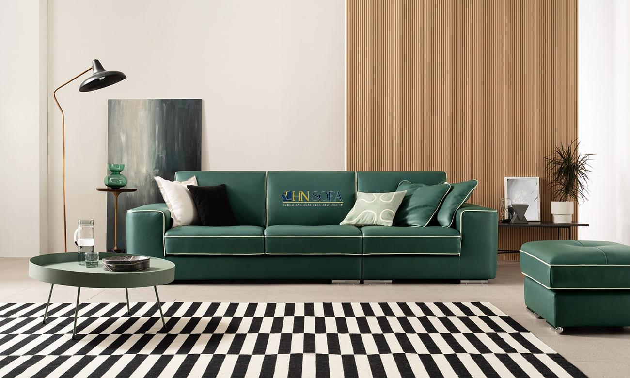 Mẫu sofa văng da xanh lá cây đậm chất cá tính HNS50