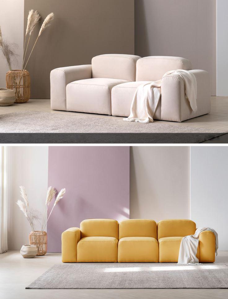 Sofa bọc nỉ trắng kem HNSN01