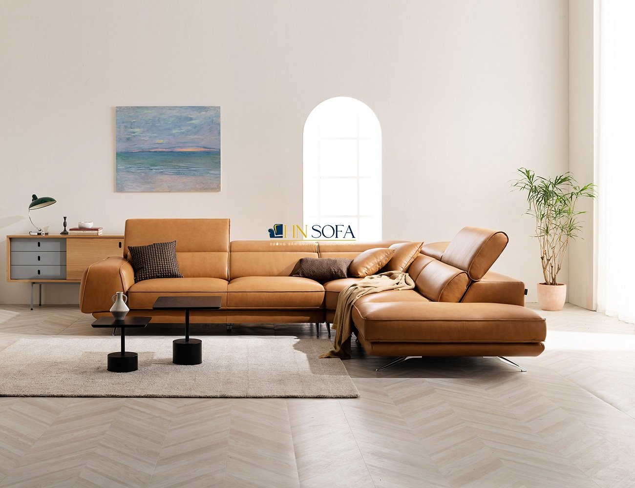 Mẫu sofa góc L da bò Ý HNS43