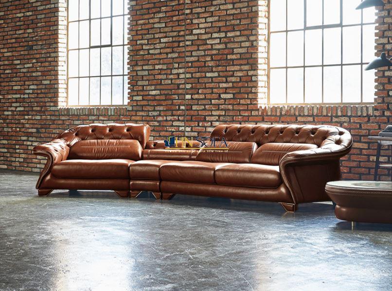 Sofa tân cổ điển da bò Ý HNS45