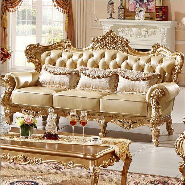 Mẫu 3: Sofa bộ Châu Âu dát vàng