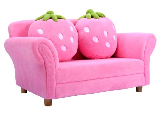 Mẫu sofa hình dâu tây chất liệu nỉ hồng cao cấp