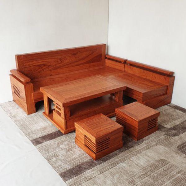 Mẫu 1: Mẫu sofa hộp sang trọng làm từ gỗ tự nhiên với màu sắc nhã nhặn