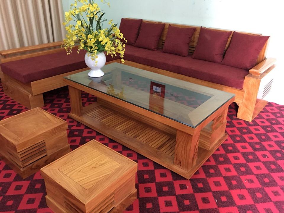 Mẫu 5: Mẫu sofa hộp gỗ tự nhiên đẹp cho không gian phòng khách