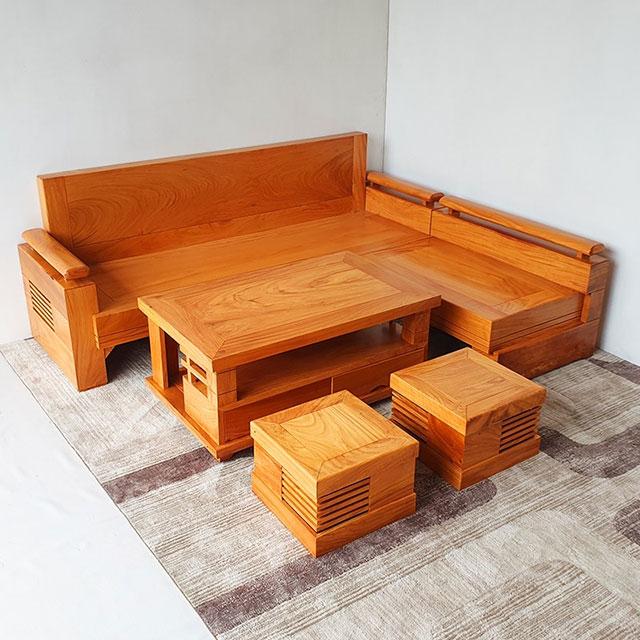 Mẫu 6: Mẫu sofa hộp dáng chữ L kết hợp 2 ghế đơn