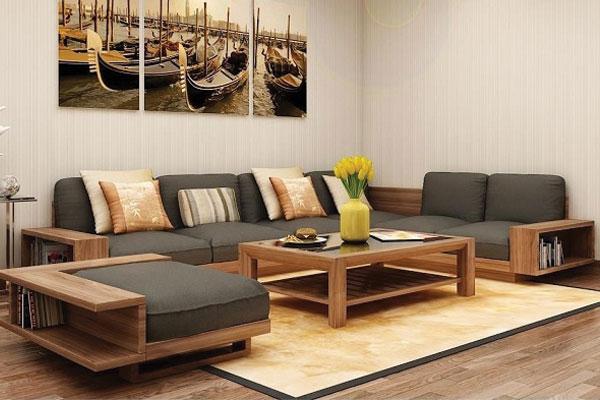 Mẫu 8: Mẫu sofa hộp đẹp kết hợp nệm bọc nỉ sang trọng và êm ái