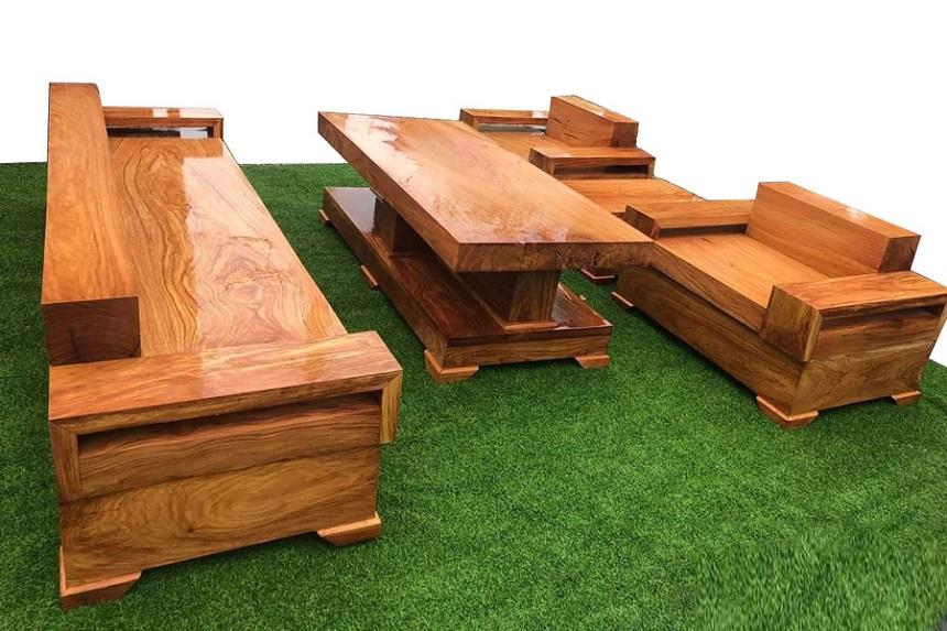 Mẫu 9: Sofa hộp gỗ đẹp với đường văn tinh tế, sang trọng