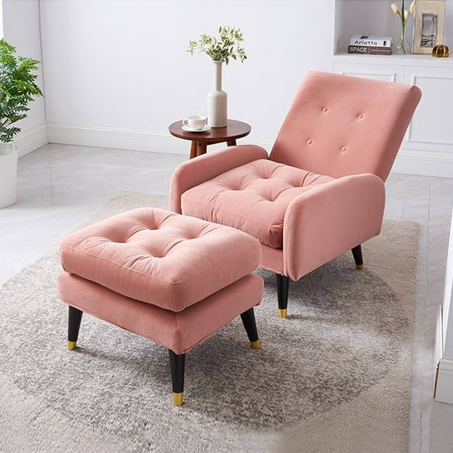 Mẫu 1: Sofa tựa lưng hồng pastel thanh lịch