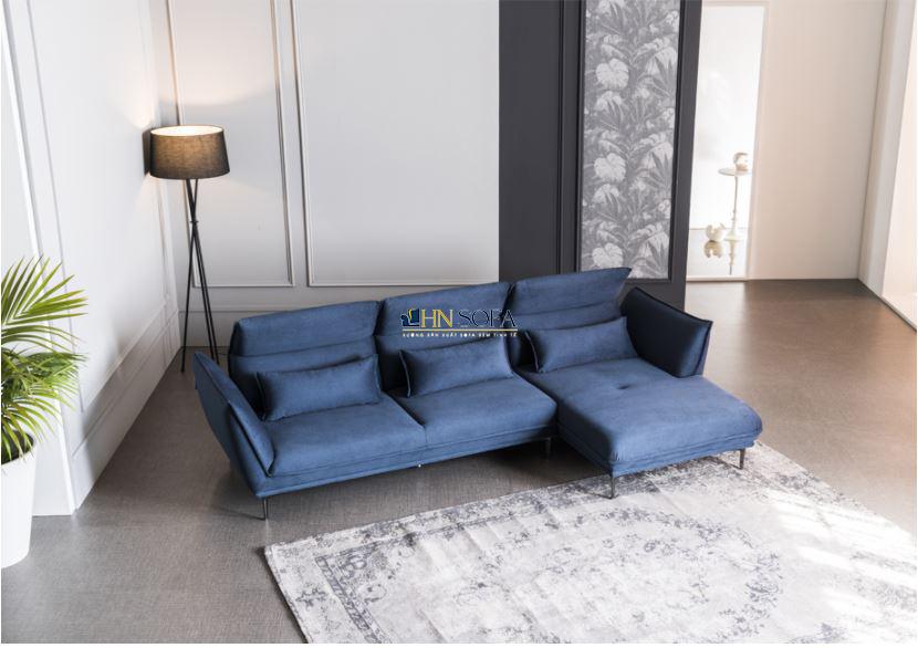 Sofa góc L nỉ Hàn xanh đậm HNSN16