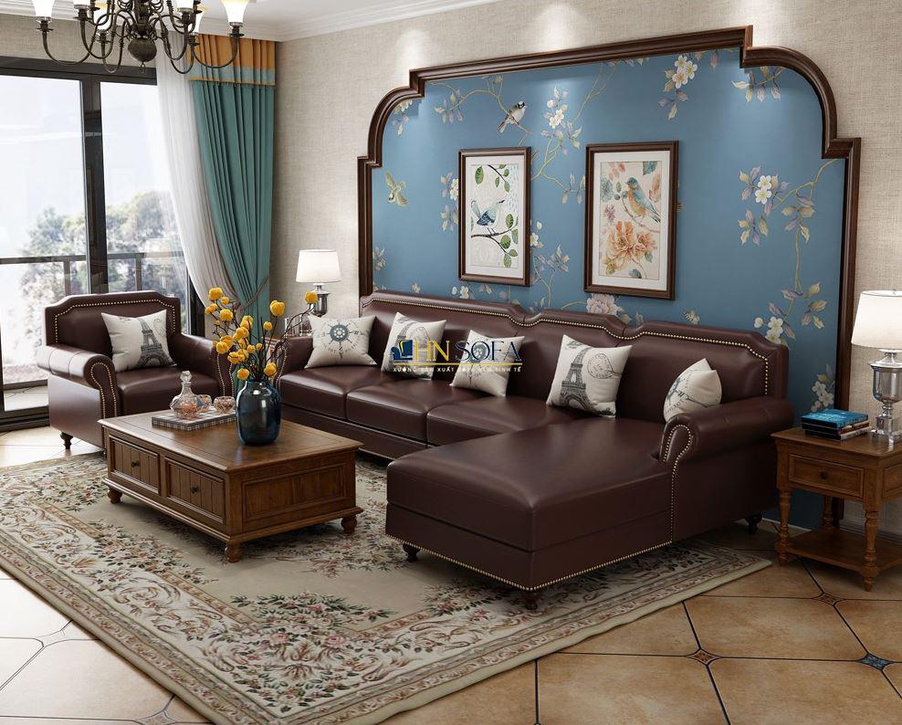 Sofa bộ tân cổ điển bọc da HNS63