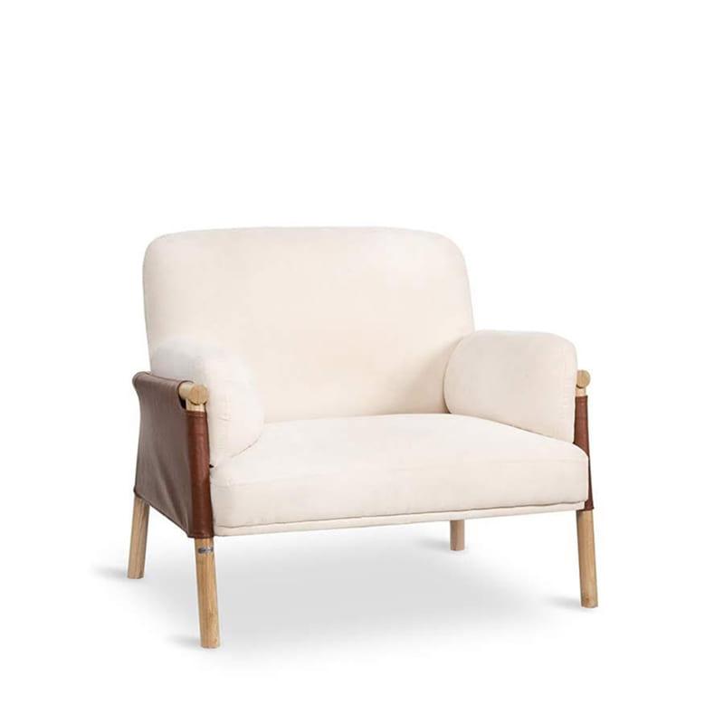 Ghế sofa đơn da màu trắng tinh khôi