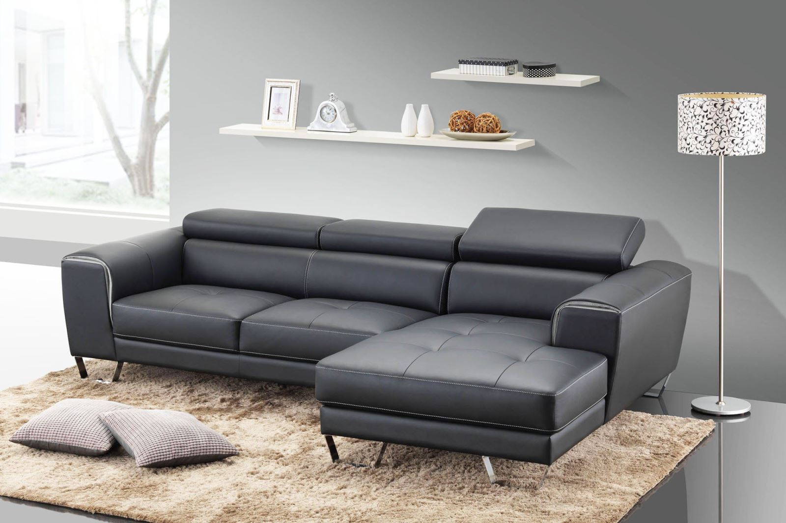 Sofa da thật 100 đen sang trọng