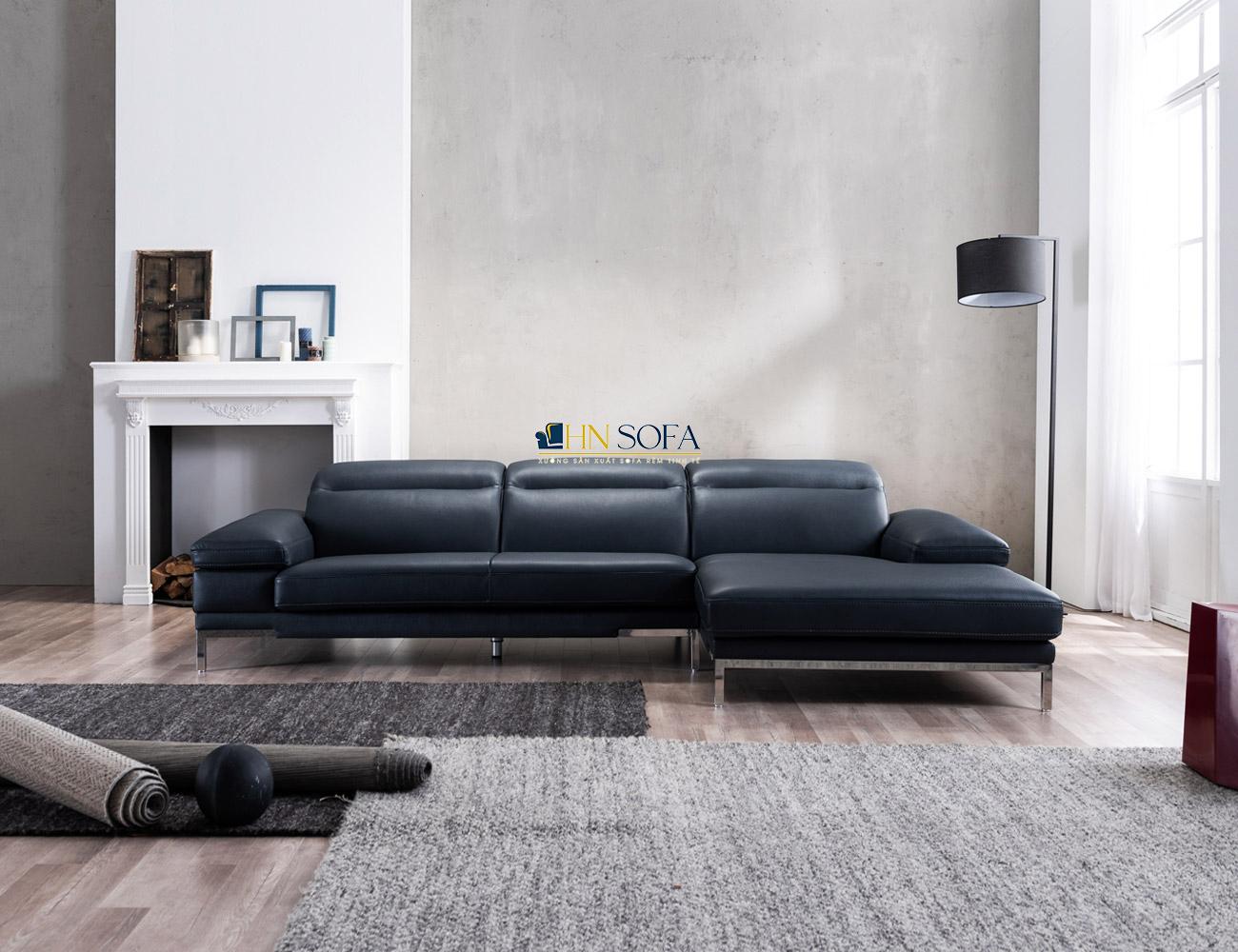 Mẫu sofa da đen góc L hiện đại, sang trọng
